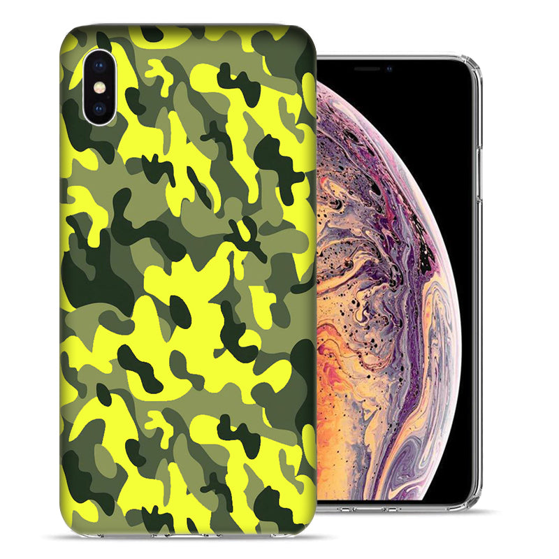 Apple iPhone XS Max 6.5 inch Yellow Green Camo Design TPU Gel Phone Case Cover