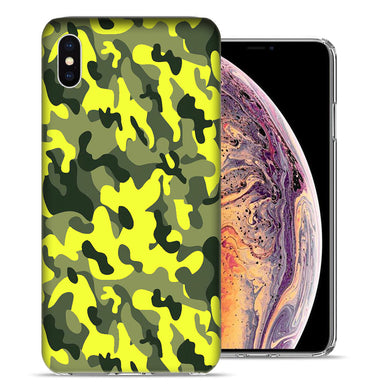 Apple iPhone XS And X Yellow Green Camo Design TPU Gel Phone Case Cover