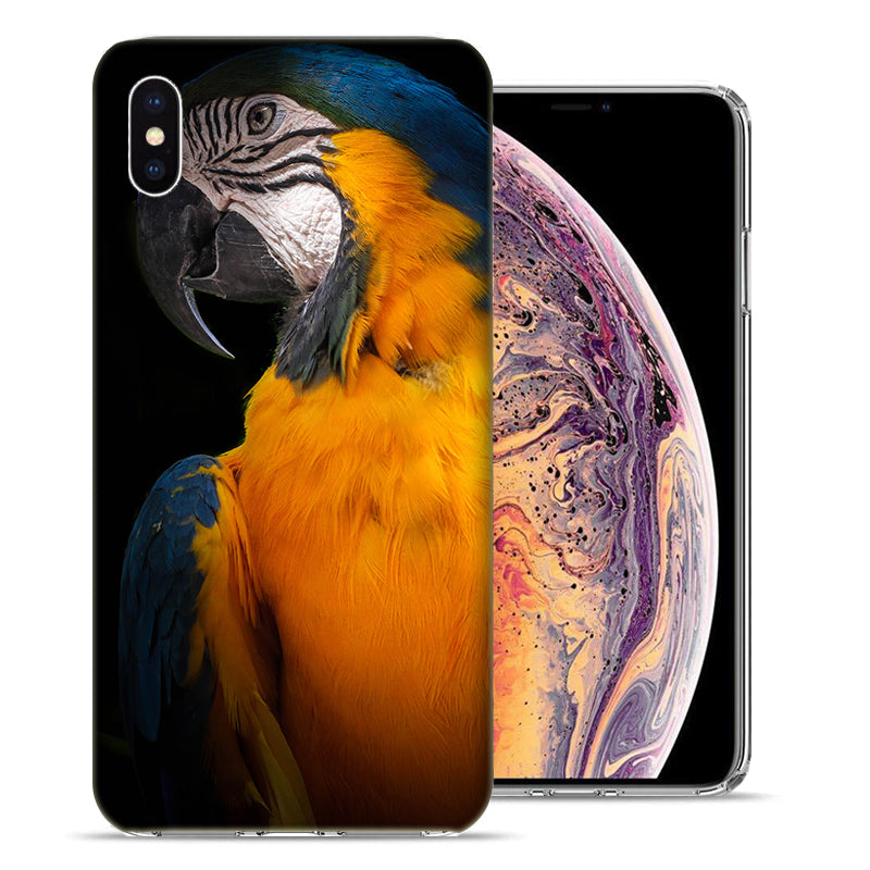 Apple iPhone XS And X Blue Yellow Macaw Bird Design TPU Gel Phone Case Cover