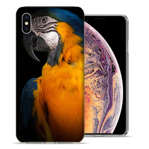 Apple iPhone XS Max 6.5 inch Blue Yellow Macaw Bird Design TPU Gel Phone Case Cover