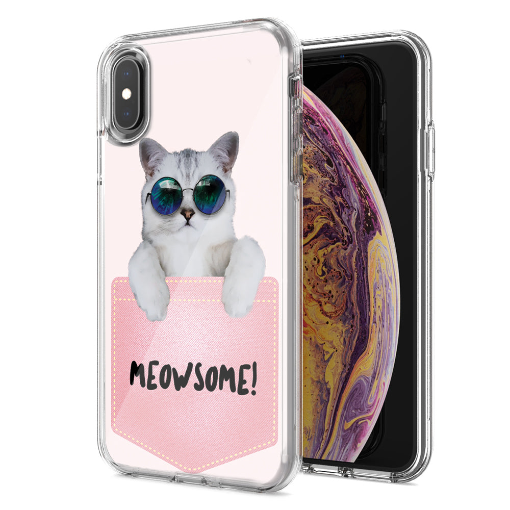 Apple iPhone XR Meowsome Cat Design Double Layer Phone Case Cover
