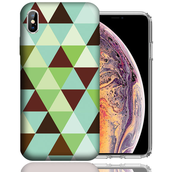 Apple iPhone XS Max 6.5 Inch Custom UV Printed Design Case - Mint Chocolate Checkered Design Cover