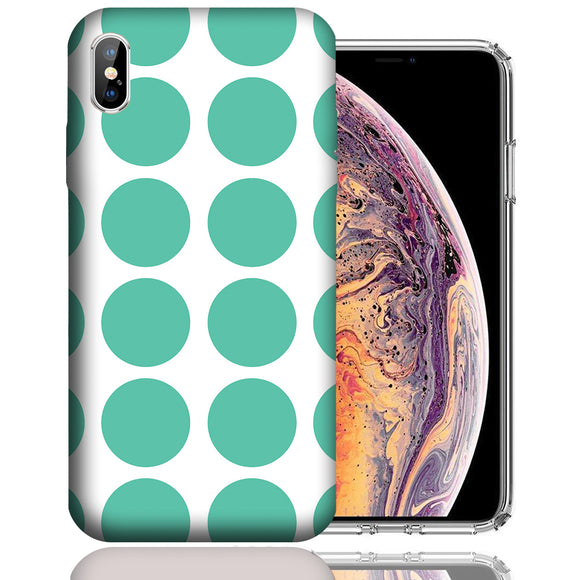 Apple iPhone XS Max 6.5 Inch Custom UV Printed Design Case - Mint White Polkadot Design Cover