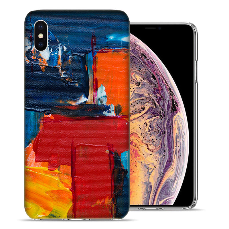 Apple iPhone XS Max 6.5 inch Abstract Oil Paint Design TPU Gel Phone Case Cover