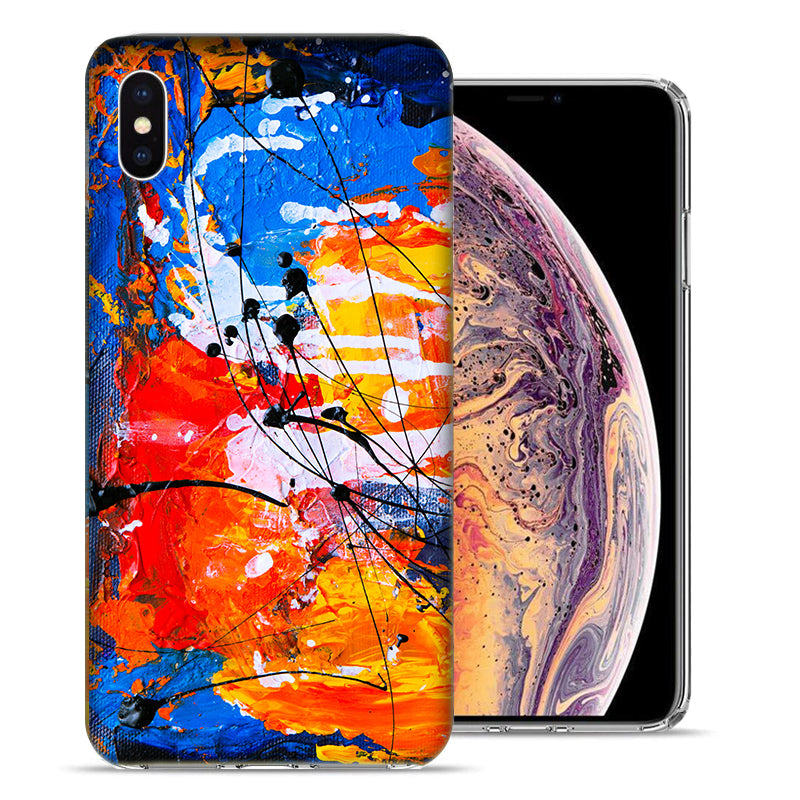 Apple iPhone XS Max 6.5 inch Oil Paint Splatter Design TPU Gel Phone Case Cover