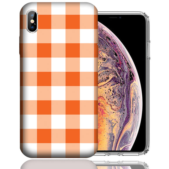 Apple iPhone XS Max 6.5 Inch Custom UV Printed Design Case - Orange White Plaid Design Cover
