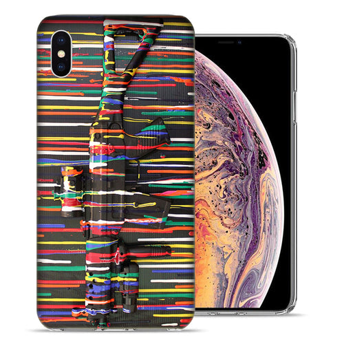 Apple iPhone XS And X Painted Gun Design TPU Gel Phone Case Cover