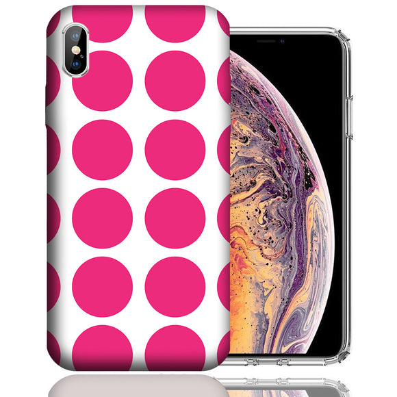 Apple iPhone XS Max 6.5 Inch Custom UV Printed Design Case - Pink White Polkadot Design Cover