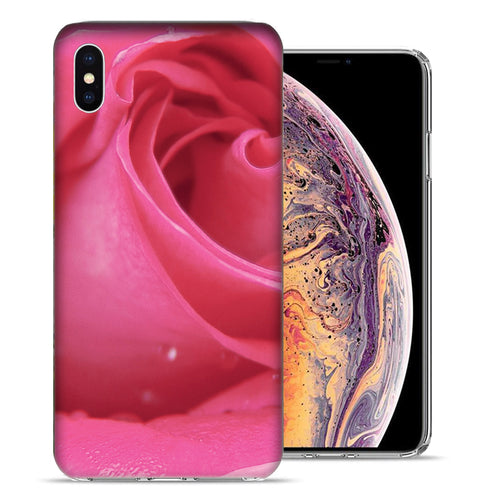 Apple iPhone XS And X Pink Rose Design TPU Gel Phone Case Cover