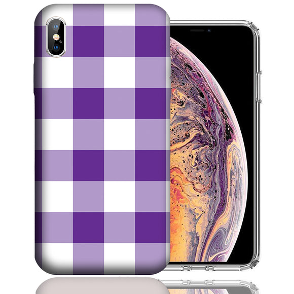 Apple iPhone XS Max 6.5 Inch Custom UV Printed Design Case - Purple White Plaid Design Cover
