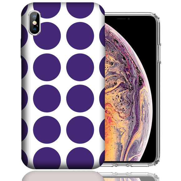 Apple iPhone XS Max 6.5 Inch Custom UV Printed Design Case - Purple White Polkadot Design Cover