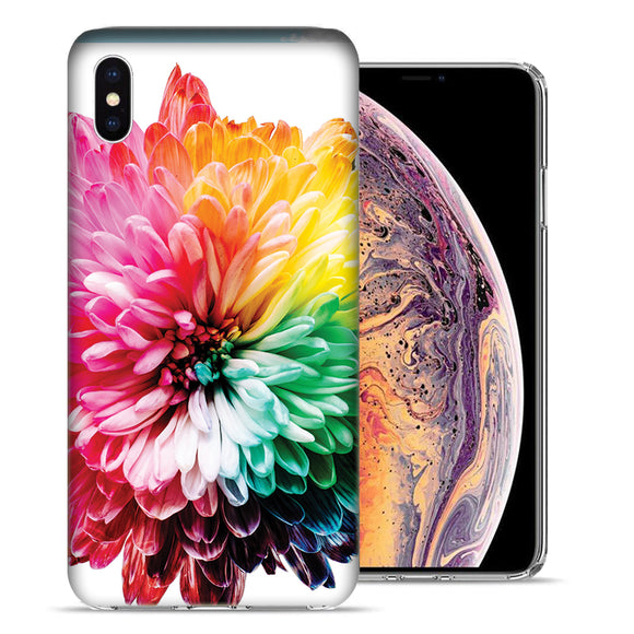 Apple iPhone XS And X Rainbow Flower Design TPU Gel Phone Case Cover