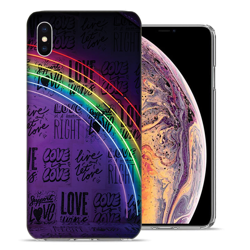 Apple iPhone XS And X Rainbow Neon Design TPU Gel Phone Case Cover