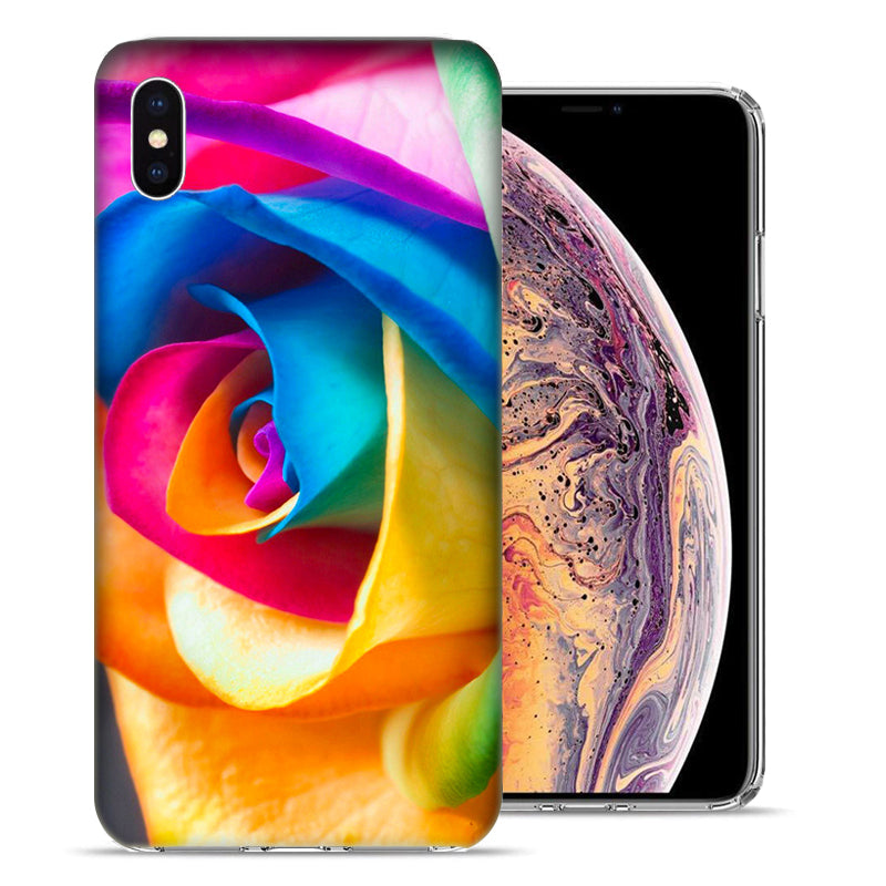 Apple iPhone XS Max 6.5 inch Rainbow Rose Design TPU Gel Phone Case Cover
