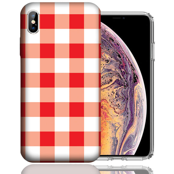 Apple iPhone XS Max 6.5 Inch Custom UV Printed Design Case - Red White Plaid Design Cover