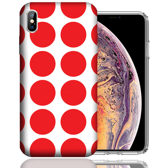 Apple iPhone XS Max 6.5 Inch Custom UV Printed Design Case - Red White Polkadot Design Cover