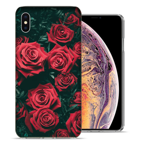 Apple iPhone XS And X Red Roses Design TPU Gel Phone Case Cover