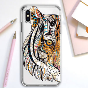 Apple iPhone XR Tiger Mosaic Tiles Phone Cover Cases