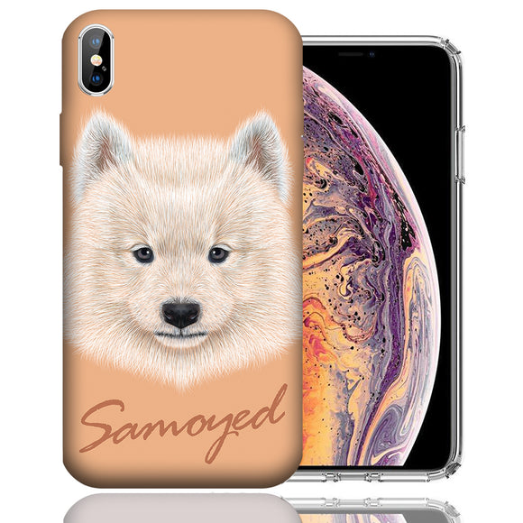 Apple iPhone XS Max 6.5 Inch Custom UV Printed Design Case - Samoyed Dog Realistic Art Design Cover