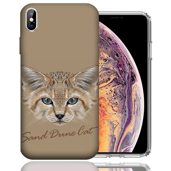 Apple iPhone XS Max 6.5 Inch Custom UV Printed Design Case - Sand Dune Cat Realistic Art Design Cover
