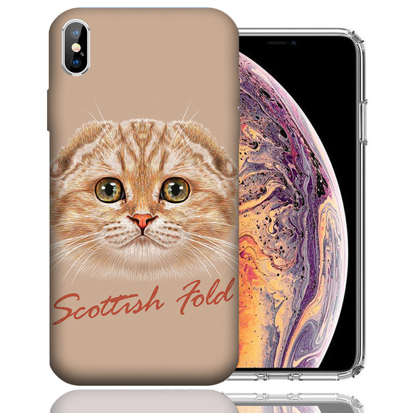 Apple iPhone XS Max 6.5 Inch Custom UV Printed Design Case - Scottish Fold Cat Realistic Art Design Cover