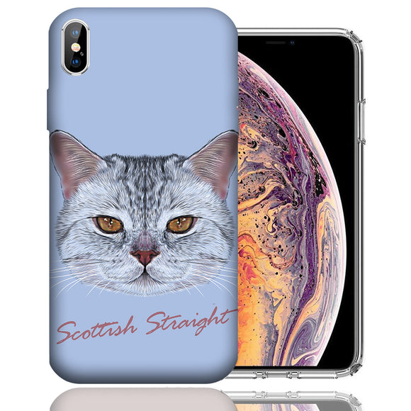 Apple iPhone XS Max 6.5 Inch Custom UV Printed Design Case - Scottish Straight Cat Realistic Art Design Cover