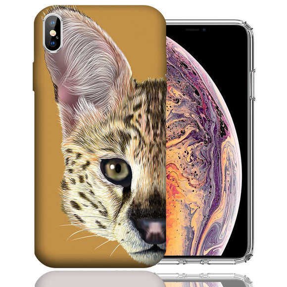 Apple iPhone XS Max 6.5 Inch Custom UV Printed Design Case - Serval Cat Realistic Art Design Cover