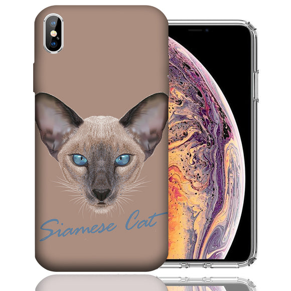 Apple iPhone XS Max 6.5 Inch Custom UV Printed Design Case - Siamese Cat Realistic Art Design Cover