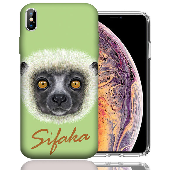 Apple iPhone XS Max 6.5 Inch Custom UV Printed Design Case - Sifaka Realistic Art Design Cover