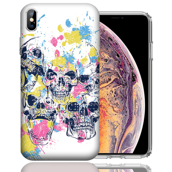 Apple iPhone XS Max 6.5 Inch Custom UV Printed Design Case - Skull Splash Design Cover