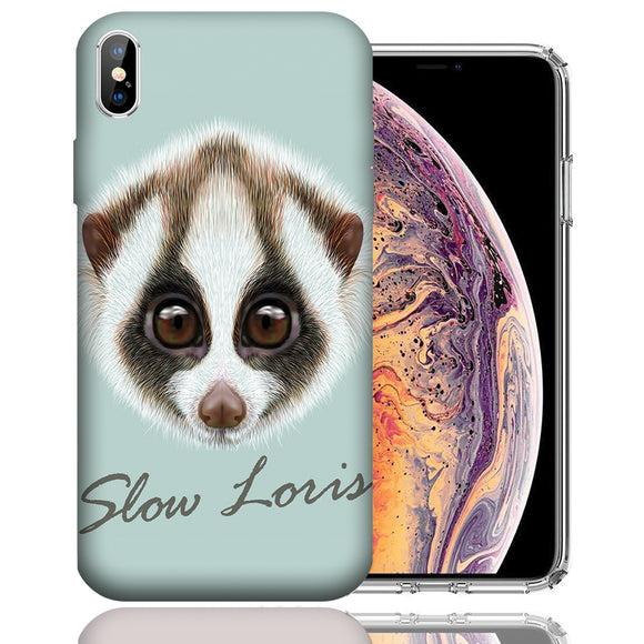 Apple iPhone XS Max 6.5 Inch Custom UV Printed Design Case - Slow Loris Realistic Art Design Cover