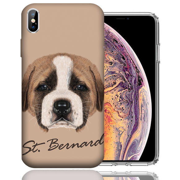 Apple iPhone XS Max 6.5 Inch Custom UV Printed Design Case - Saint Bernard Puppy Realistic Art Design Cover