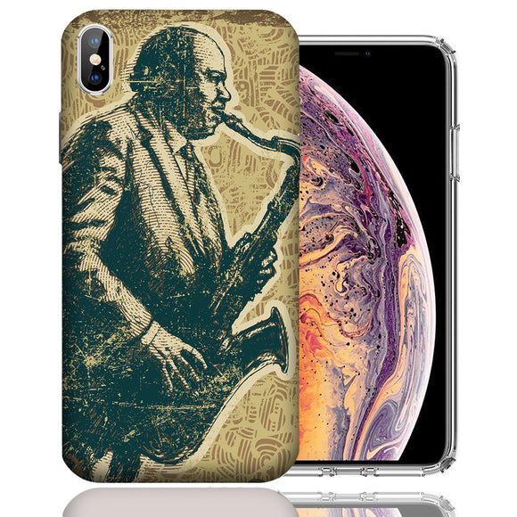 Apple iPhone XS Max 6.5 Inch Custom UV Printed Design Case - Vintage Jazz Saxophone Design Cover