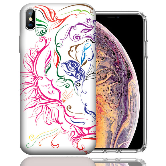 Apple iPhone XS Max 6.5 Inch Custom UV Printed Design Case - White Abstract Tiger Design Cover