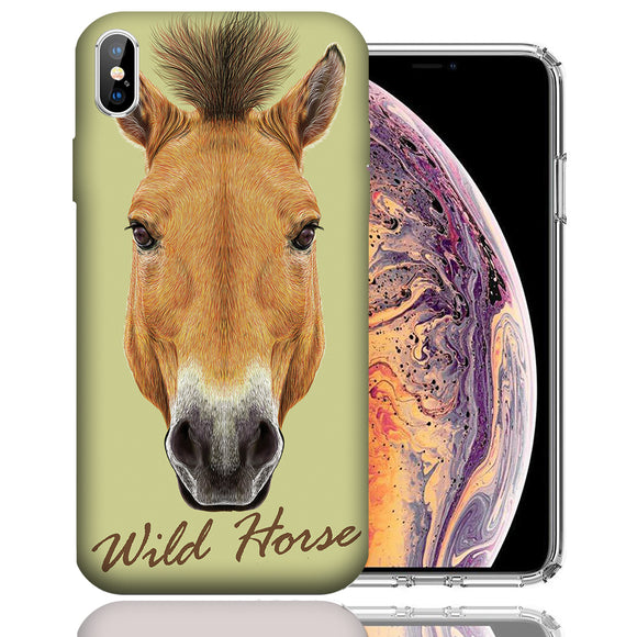 Apple iPhone XS Max 6.5 Inch Custom UV Printed Design Case - Wild Horse Realistic Art Design Cover