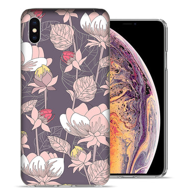 Apple iPhone XS And X Vintage Peony Flowers Design TPU Gel Phone Case Cover