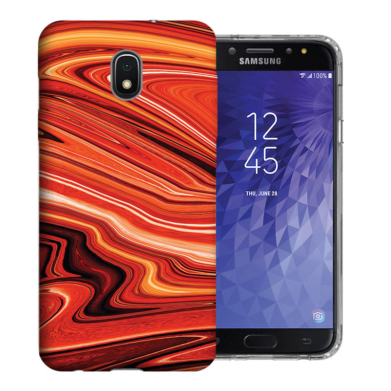 Samsung Galaxy J3 J337 2018 Abstract Orange Paint Design TPU Gel Phone Case Cover