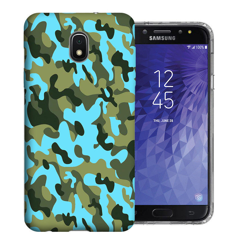 Samsung Galaxy J3 J337 2018 Blue Green Camo Design TPU Gel Phone Case Cover