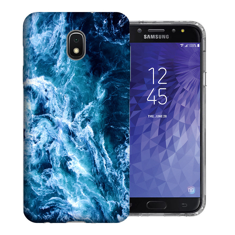 Samsung Galaxy J3 Achieve/ Express Prime 3/ Amp Prime 3 2018 Deep Blue Ocean Waves Design TPU Gel Phone Case Cover