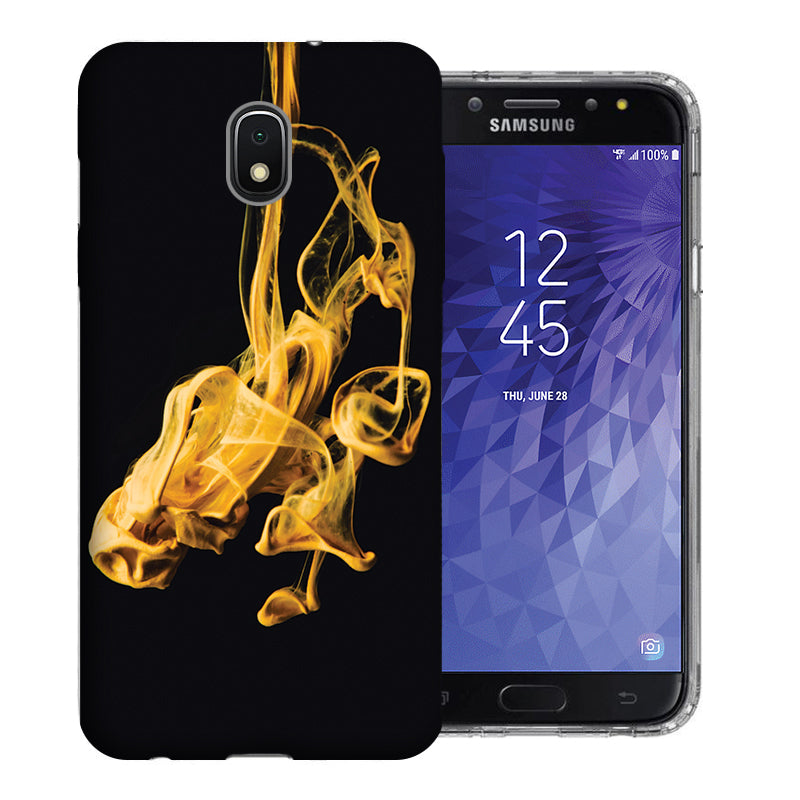 Samsung Galaxy J3 J337 2018 Gold Smoke Design TPU Gel Phone Case Cover