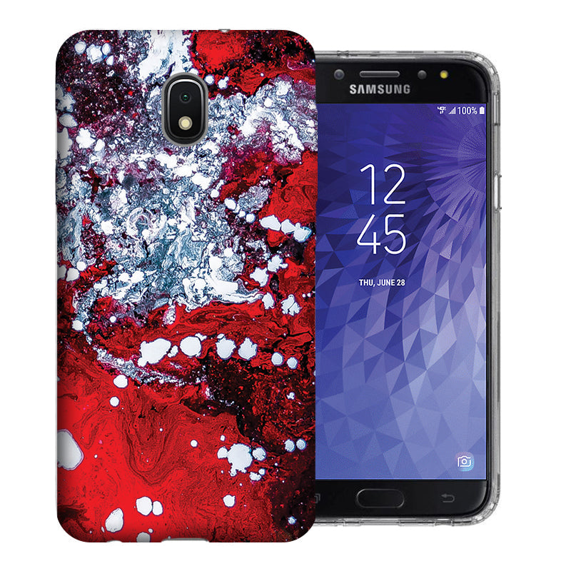 Samsung Galaxy J3 J337 2018 Red White Oil Paint Design TPU Gel Phone Case Cover