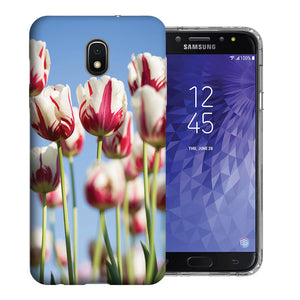 Samsung Galaxy J3 Achieve/ Express Prime 3/ Amp Prime 3 2018 Red White Tulips Design TPU Gel Phone Case Cover
