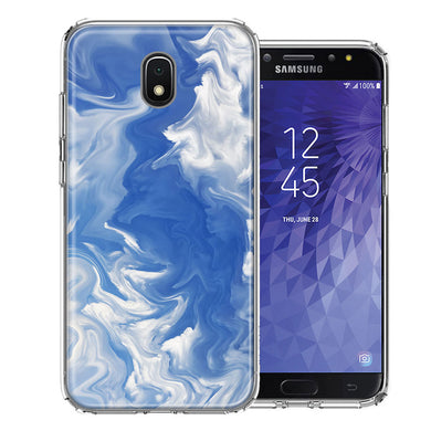 Samsung J3 2018/J337/AMP Prime 3/J3 Achieve Sky Blue Swirl Design Double Layer Phone Case Cover