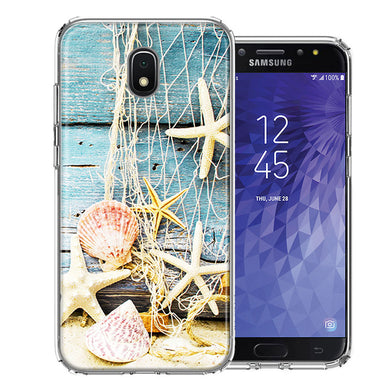 Samsung J3 2018/J337/AMP Prime 3/J3 Achieve Starfish Net Design Double Layer Phone Case Cover