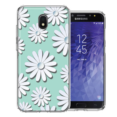 Samsung J3 2018/J337/AMP Prime 3/J3 Achieve White Teal Daisies Design Double Layer Phone Case Cover