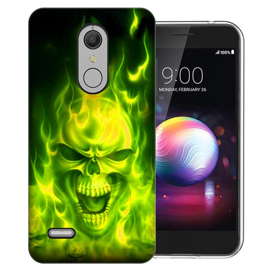 MUNDAZE LG Stylo 5 Green Flaming Skull Design Phone Case Cover