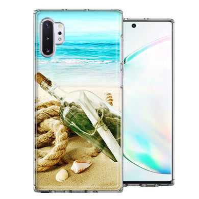 Samsung Galaxy Note 10 Beach Message Bottle Design Double Layer Phone Case Cover