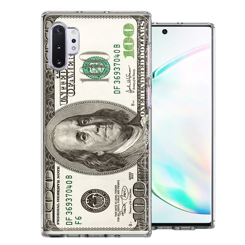 Samsung Galaxy Note 10 Plus Benjamin $100 Bill Design Double Layer Phone Case Cover