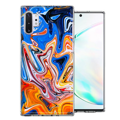 Samsung Galaxy Note 10 Blue Orange Abstract Design Double Layer Phone Case Cover