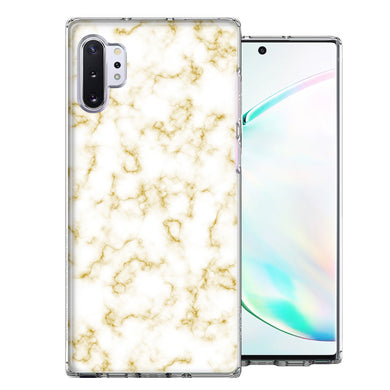 Samsung Galaxy Note 10 Gold Marble Design Double Layer Phone Case Cover
